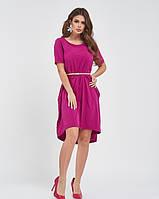 Малиновое ассиметричное платье до колен из софта 4XL