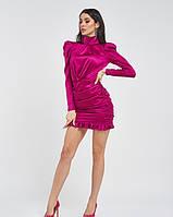 Фиолетовое атласное платье с воротником-стойкой и драпировкой с рюшами по нижнему краю M, фото 1