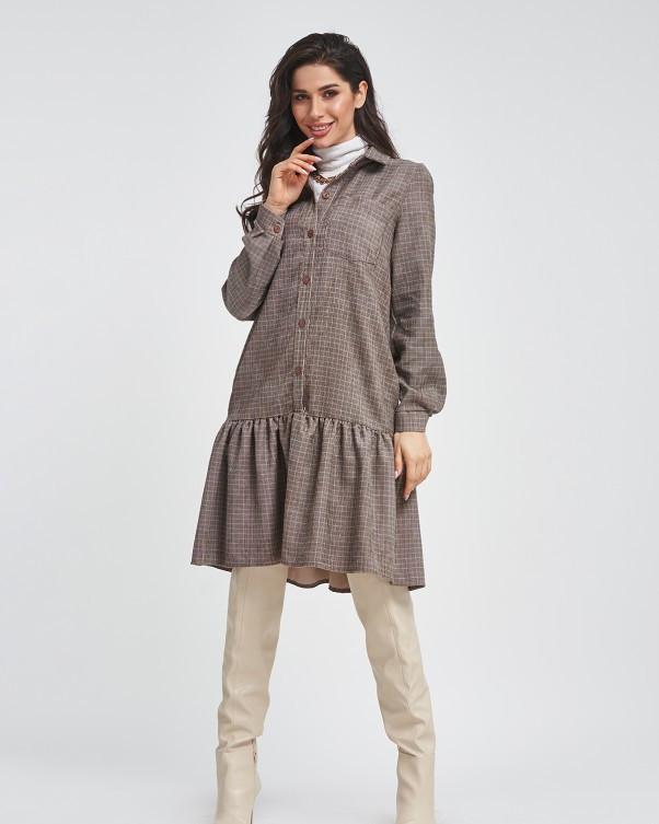 Клетчатое вельветовое платье с воланом XL