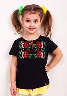 Детская вышитая футболка (черная), фото 1