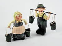 Дед с коромыслом и Баба с ведрами Набор / Фигурка Интерьерная 18x18x6 см