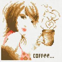 Алмазная живопись Девушка с кофе, размер 20*20 см, забивка полная, стразы квадратные