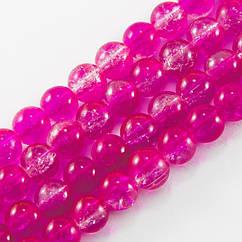 """Бусины """"Битое Стекло"""" Двухцветные, круглые, Цвет: Розовый, Диаметр: 8мм, Отверстие 1мм, около 105шт/84см/нить"""