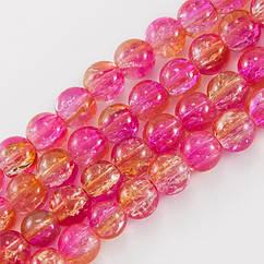 """Бусины """"Битое Стекло"""" Двухцветные, круглые, Цвет: Розовый, Диаметр: 8мм, Отверстие 2мм, около 105шт/84см/нить"""
