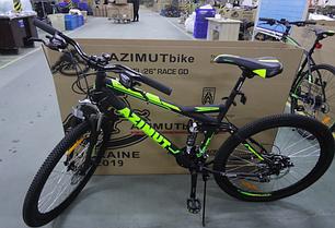 """Спортивный велосипед 26 дюйма Azimut Race Shimano рама 18"""" черно-зеленый"""