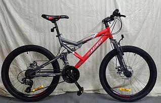 """Спортивный велосипед 26 дюйма Azimut Scorpion Shimano рама 17"""" серо-красный"""