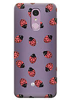 Прозрачный силиконовый чехол iSwag для LG Q7 с рисунком - Божьи коровки H528, КОД: 1398936