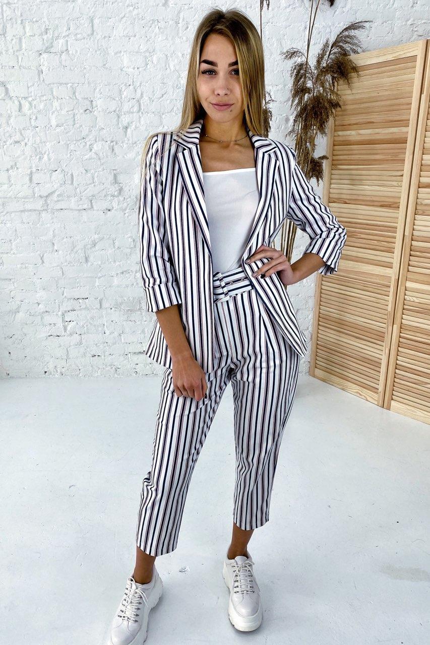 Нарядный костюм пиджак и брюки принт полоска комбинированная  PERRY - пудра цвет, S (есть размеры)