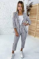 Нарядный костюм пиджак и брюки принт полоска комбинированная  PERRY - пудра цвет, M (есть размеры), фото 1