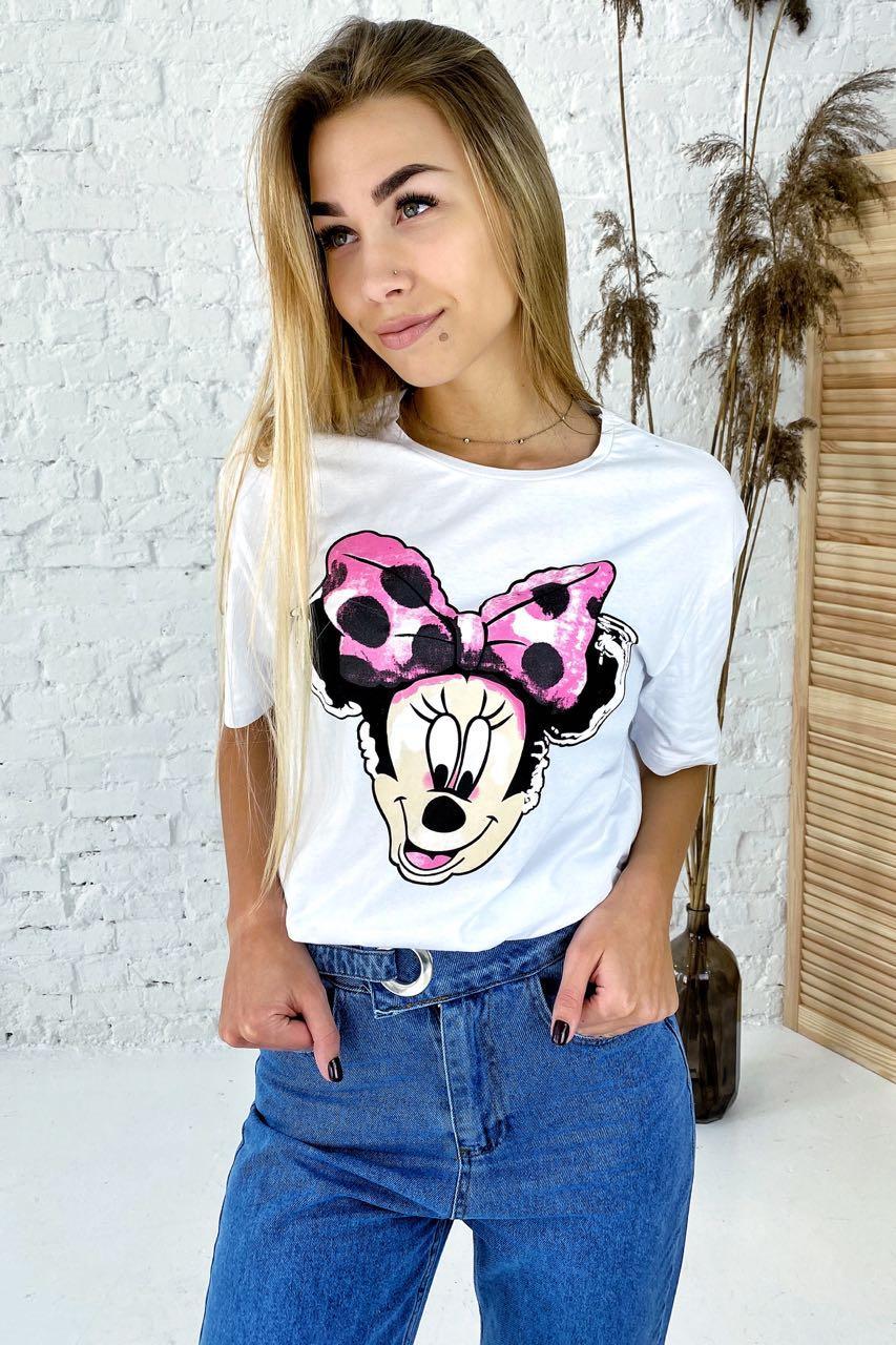 Модная футболка с принтом Минни Маус  LUREX - белый цвет, L (есть размеры)
