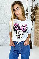 Модная футболка с принтом Минни Маус  LUREX - белый цвет, L (есть размеры), фото 1