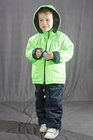 Демисезонный комбинезон для мальчика на флисе Салатовый