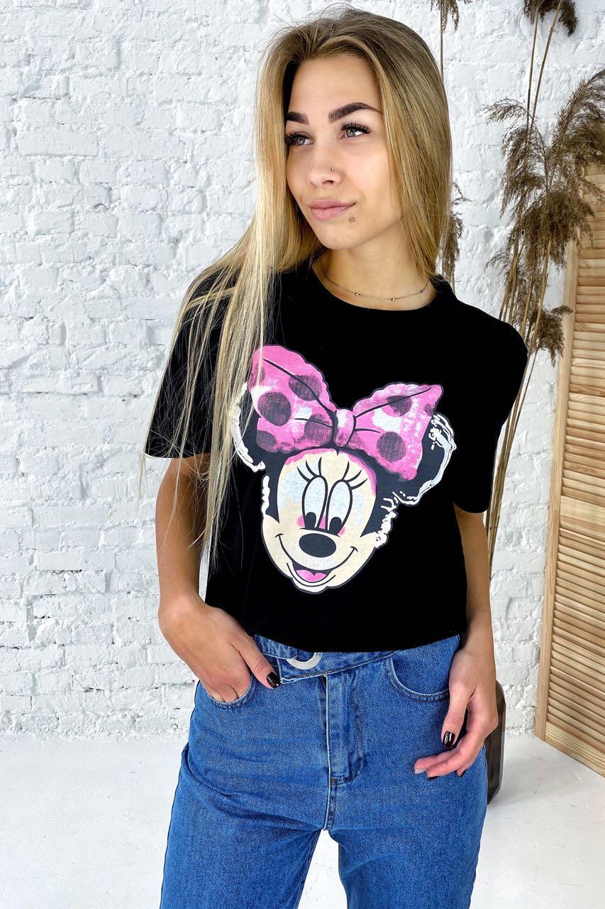 Модная футболка с принтом Минни Маус  LUREX - черный цвет, S (есть размеры)