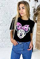 Модная футболка с принтом Минни Маус  LUREX - черный цвет, S (есть размеры), фото 1
