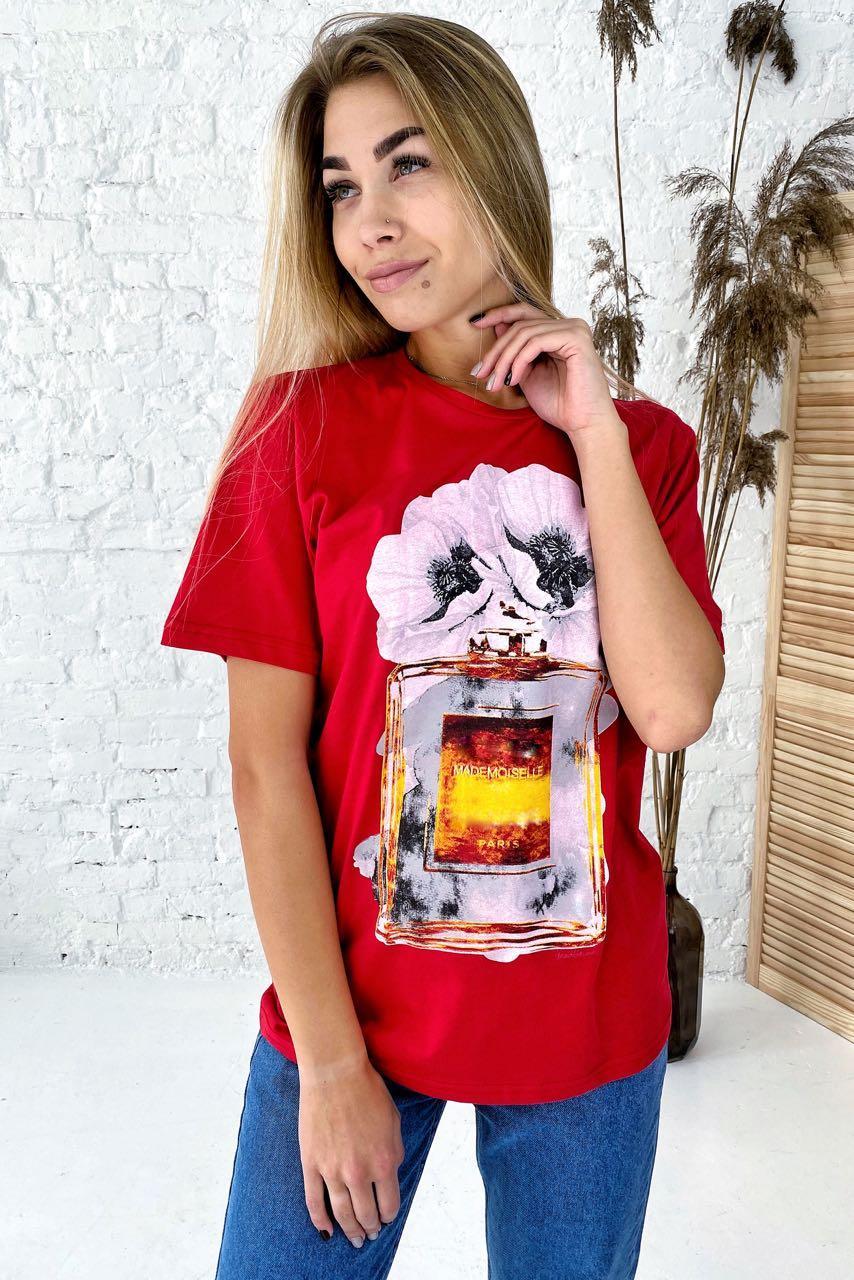 Фешенебельная футболка с принтом парфюм и цветы LUREX - красный цвет, L (есть размеры)