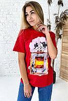 Фешенебельная футболка с принтом парфюм и цветы LUREX - красный цвет, L (есть размеры), фото 1