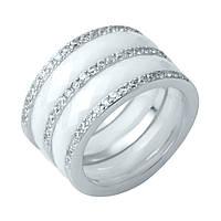 Серебряное кольцо Грабон с белой керамикой и фианитами 000127201 17.5 размер