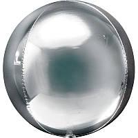 """Фольгированный шар 3D-сфера металлик G20 серебро 16"""" Anagram"""