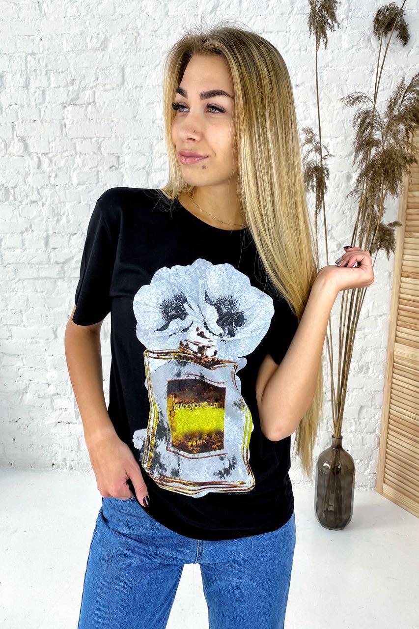 Фешенебельная футболка с принтом парфюм и цветы LUREX - черный цвет, S (есть размеры)