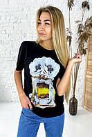 Фешенебельная футболка с принтом парфюм и цветы LUREX - черный цвет, S (есть размеры), фото 1