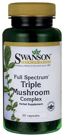 Майтаке, рейши, шиитаке 60 капс,лечебный комплекс из грибов, Swanson, США, купить, цена, отзывы