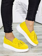 Туфлі лофери замша лимон 7274-28