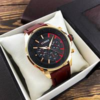 Стильные мужские наручные часы Curren 8187 Gold-Grey с коричневым ремешком
