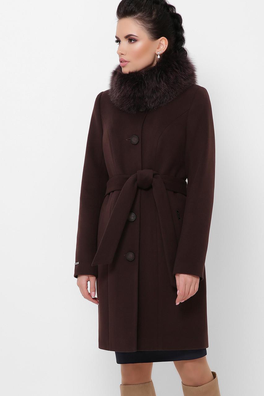 Зимнее пальто коричневого цвета с мехом
