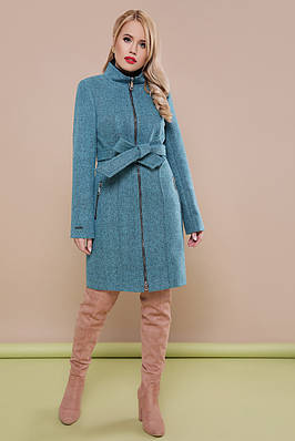 Бірюзове вовняне пальто на блискавці