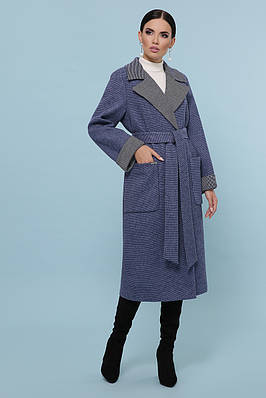 Синє пальто з поясом