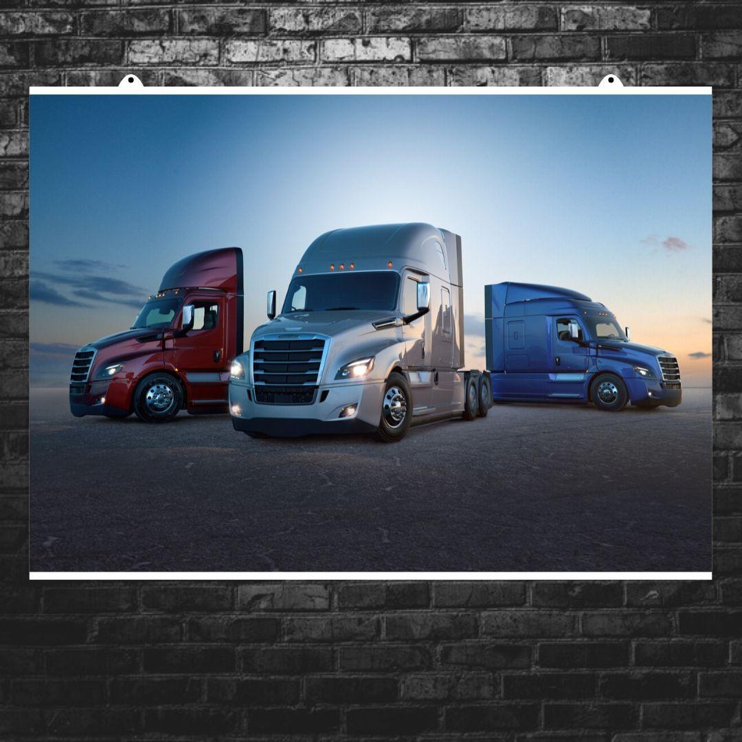"""Постер """"Траки Freightliner на фоне заката"""". Размер 60x43см (A2). Глянцевая бумага"""