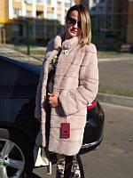Шуба из натурального мех норки,трансформер 90 см,цвет розовый, фото 1