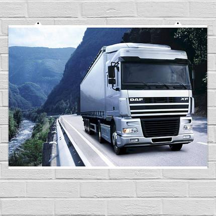 """Постер """"Трак Daf Truck Berserker на трассе у реки"""". Размер 60x43см (A2). Глянцевая бумага, фото 2"""