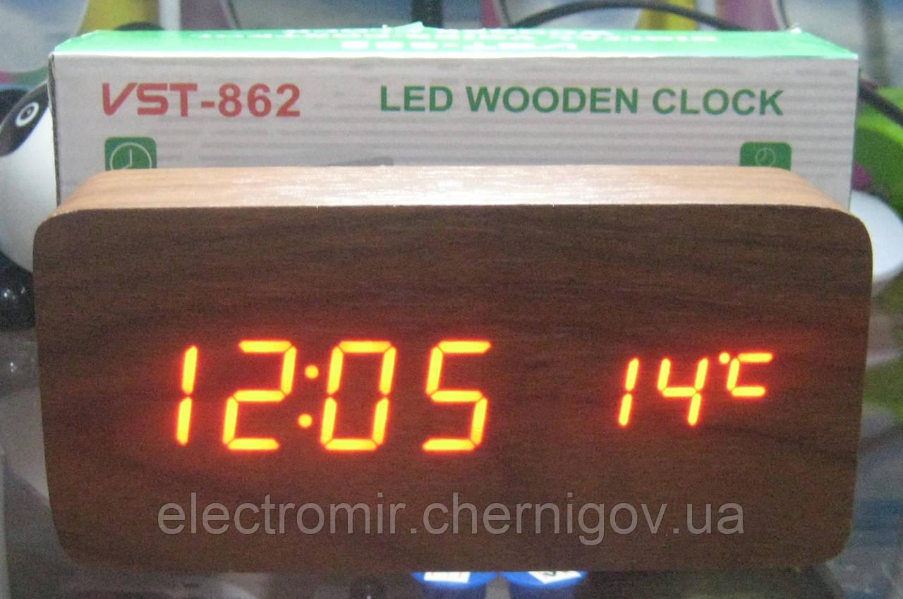 Часы электронные VST-862 (красная подсветка, дата, температура, день недели)