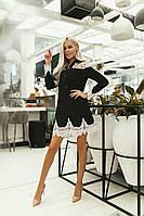 Сукня з креп костюмки з вставкою з мереживного гіпюру, низ сукні і рукава оздоблені розкішним мереживом (42-50, фото 1
