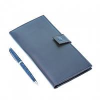 Тревел-кейс на 2 паспорта и авиабилетов Luxyart прессованная кожа Синий (LT-705)