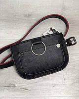 Женская сумка на пояс Welassie Кэти Черная с красным (65-99206)