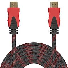 Кабель мультимедійний Lesko HDMI/HDMI 10 m шнур універсальний hd відео для комп'ютера телевізора в обплетенні