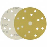 Круг шлифовальный желтый на липучке Velcro Polystar Abrasive 150 мм, P100