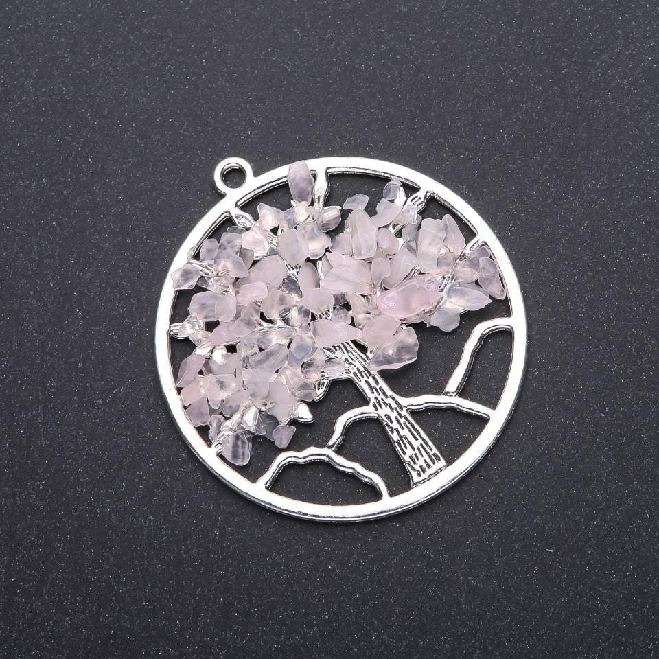 """Кулон """"Дерево счастья """" Розовый кварц, диаметр 57мм"""
