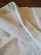 Вафельный Premium халат Luxyart Шаль, размер (42-44) S, 100% хлопок, белый (LP-038)