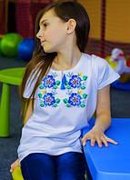 Вышитая футболка для девочки (белая), фото 1