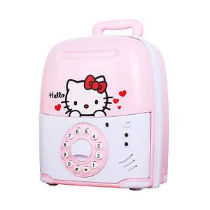 Копилка детский сейф с кодовым замком и купюроприемником для бумажных денег и монет Ukc Hello Kitty Розовый 149594