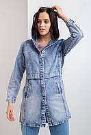 Длинная джинсовая куртка синего цвета