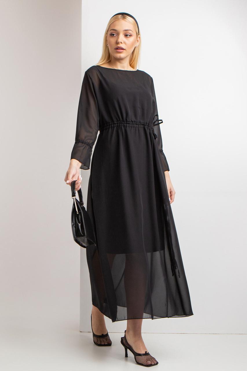 Шифоновое длинное платье ENTONY черного цвета с подкладкой