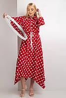Шелковистое длинное платье KAMILA в крупный белый горох на красном