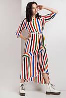 Полосатое платье SONET с асимметрией по низу и рюшей