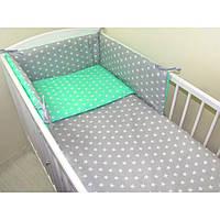"""Комплект постельных принадлежностей в кроватку (6 предметов) """"Пушистик""""(серый/мята) ТМ """"Хатка"""""""