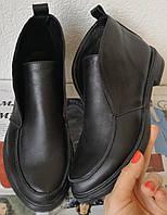 Loro Piana! Женские лоферы туфли полу ботинки натуральная черная кожа Лора Пиана