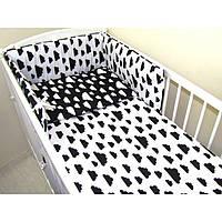 """Комплект постельных принадлежностей в кроватку (6 предметов) """"Трямдия""""(белый/черный) ТМ """"Хатка"""""""